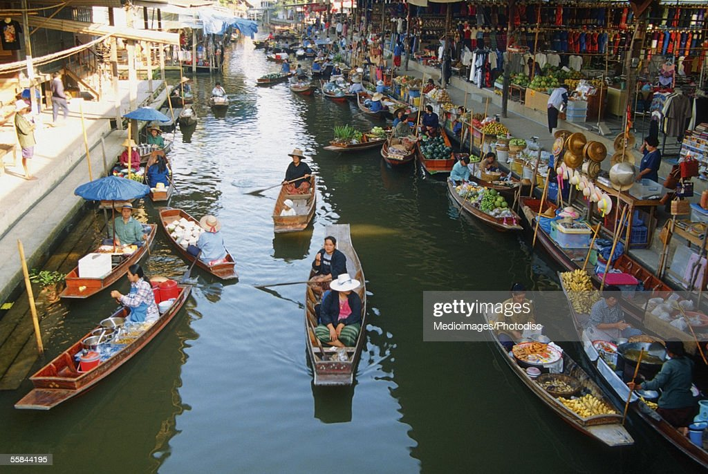 High angle view of boats, Damnoen Saduak Floating Market, Bangkok, Thailand