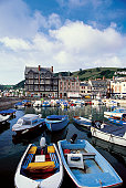 High angle view of boats docked at a harbor, Dartmouth Harbor, Devon, England