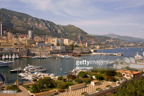High angle view of boats docked at a harbor, Port of Fontvieille, Monte Carlo, Monaco : Stock Photo