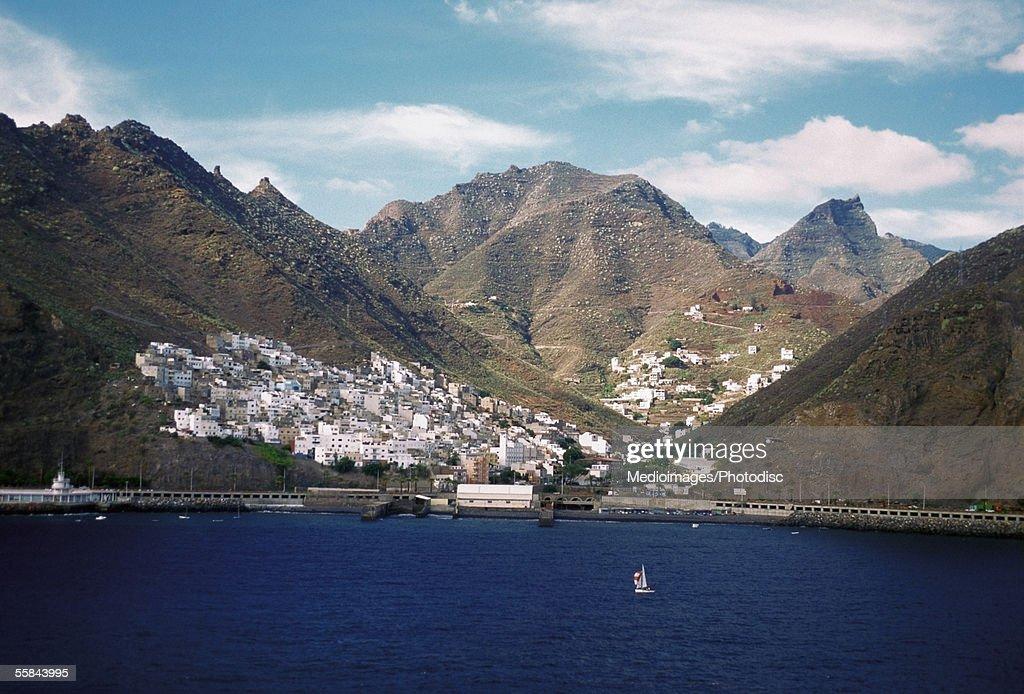 High angle view of boats in the sea, Santa Cruz harbor, Tenerife, Canary Islands, Spain