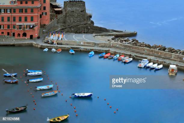 High Angle View Of Boats Moored  At Harbor Of Vernazza