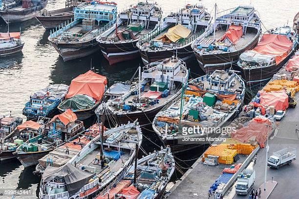 High angle view of boats moored on Dubai creek
