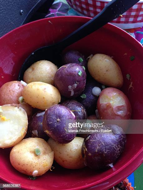 High Angle View Of Boiled Potatoes In Bowl On Table