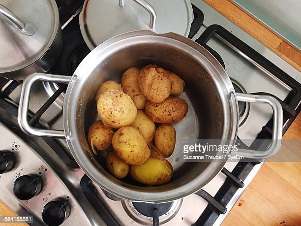 High Angle View Of Boiled Potatoes In Pan On Stove