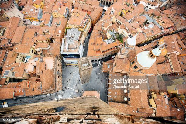 High angle view of Bologna old town, Emilia-Romagna, Italy