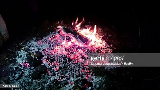 High Angle View Of Bonfire On Field At Night