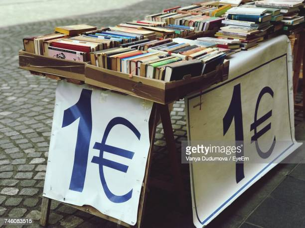 High Angle View Of Books For Sale At Market