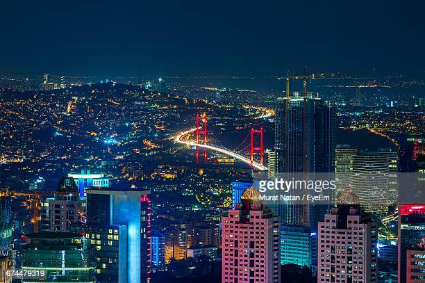 High Angle View Of Bosphorus Bridge Lit Up At Night