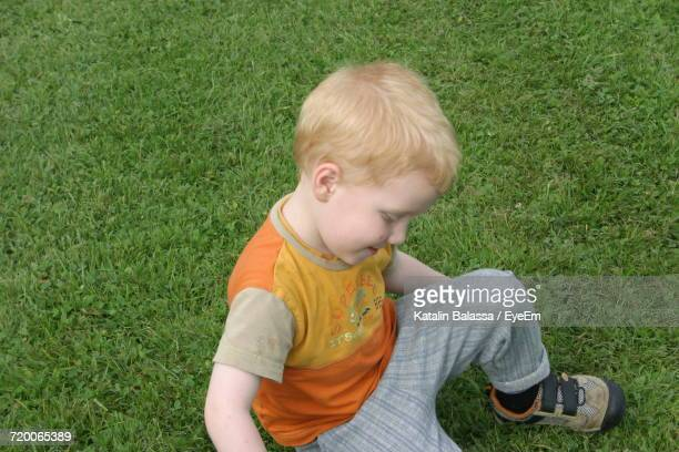 High Angle View Of Boy Playing On Grassy Field