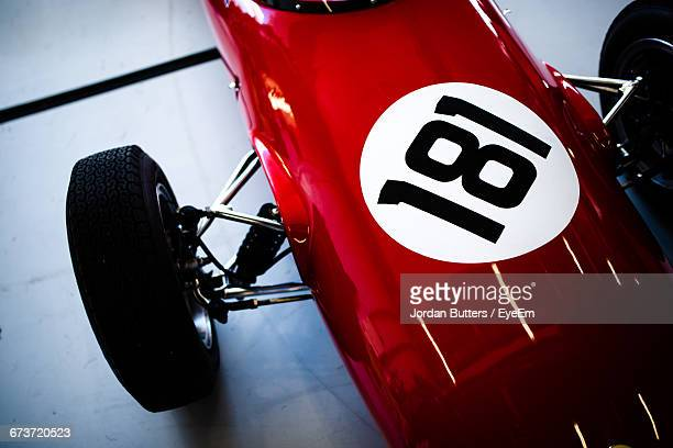 High Angle View Of Brand New Formula One Red Color Sports Car