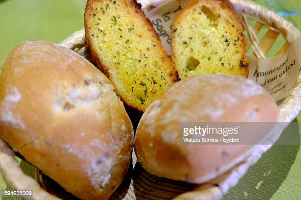 High Angle View Of Breads In Basket