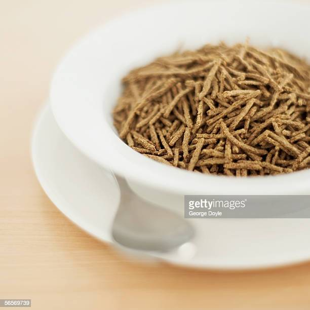 high angle view of breakfast cereal in a bowl
