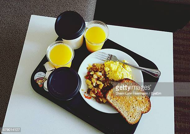 High Angle View Of Breakfast Served In Tray On Table