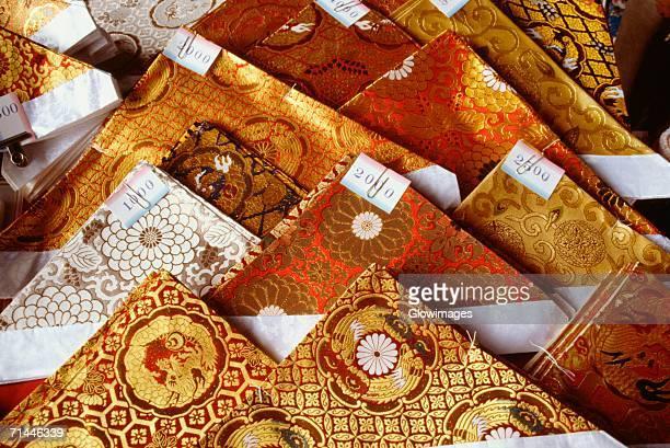 High angle view of brocade textiles, Kyoto, Japan