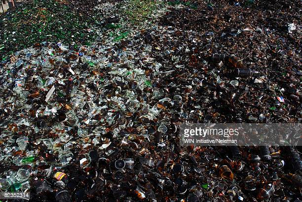 High angle view of broken bottles at recycling center, Montevideo, Uruguay