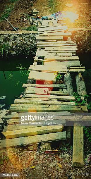High Angle View Of Broken Wooden Bridge