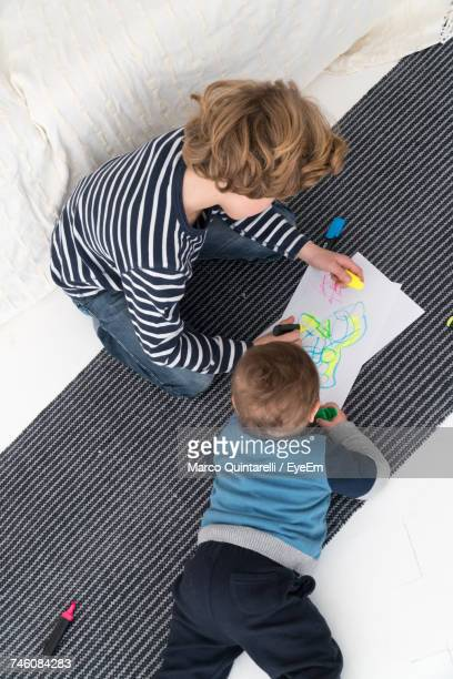 High Angle View Of Brothers Drawing On Paper At Home