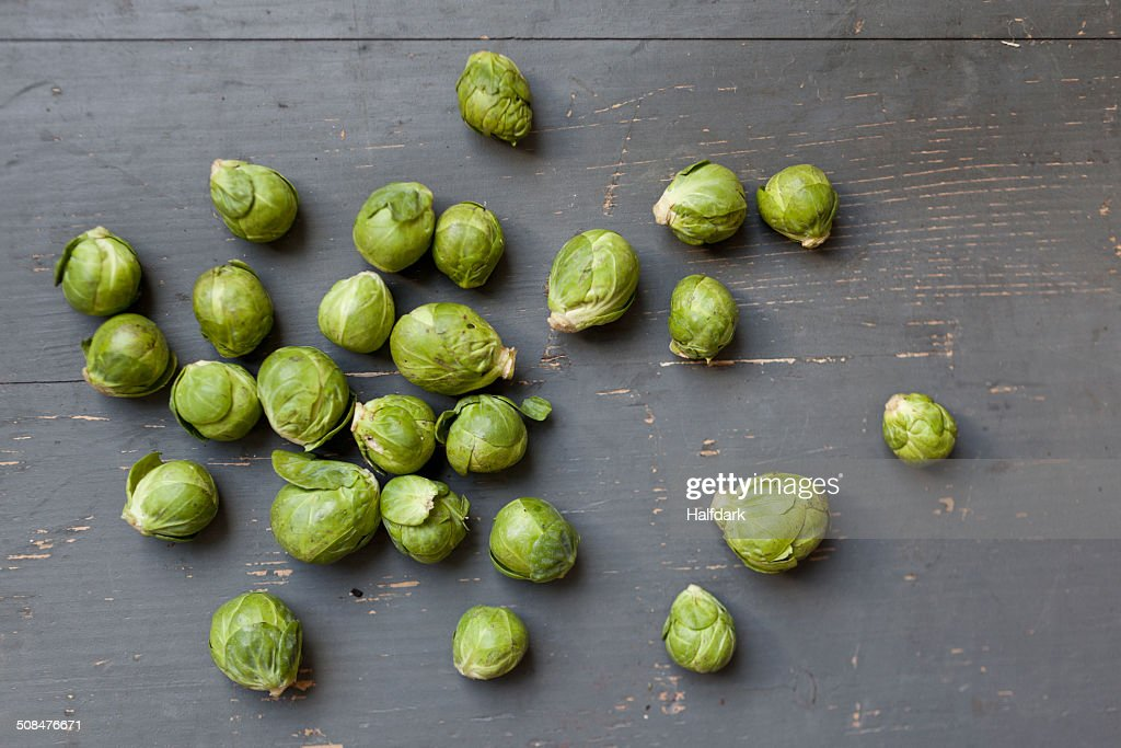 High angle view of Brussel sprouts on table