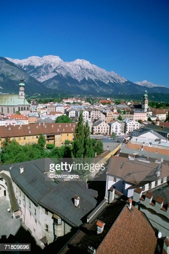 High angle view of building in a town, Hall, Austria : Stock Photo