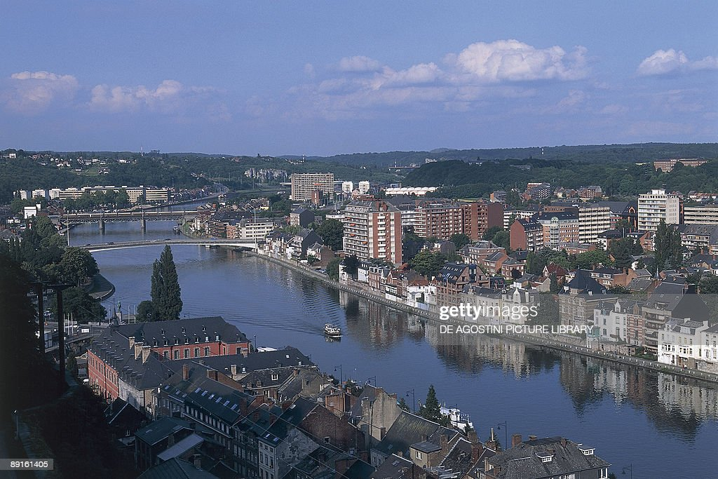 High angle view of buildings along a river Meuse River Namur Wallonia Belgium