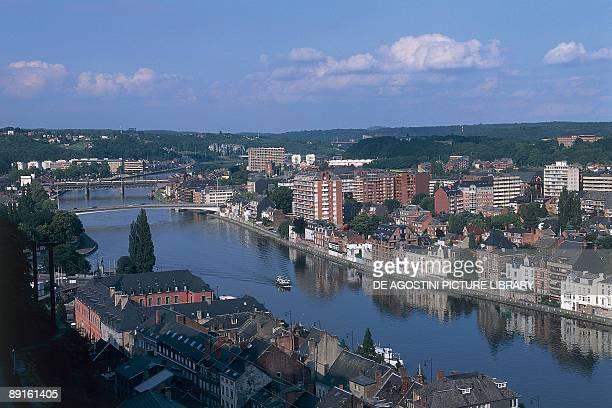 High angle view of buildings along a river Meuse River Namur Wallonia Belgium