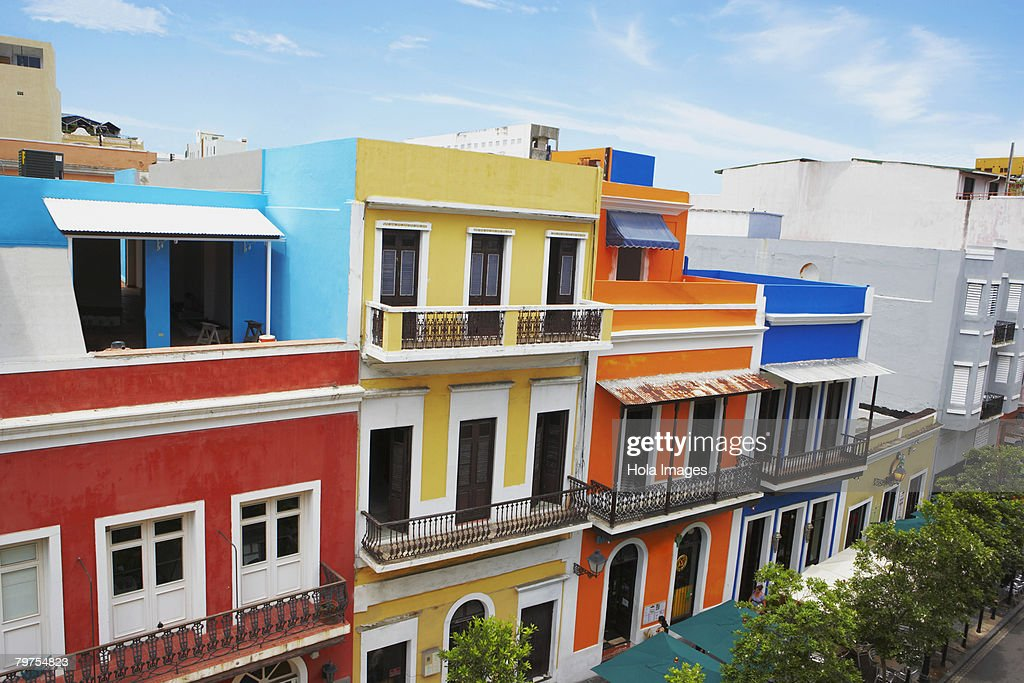 High angle view of buildings along a road, Old San Juan, San Juan, Puerto Rico : Stock Photo