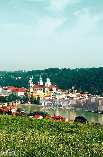 High angle view of buildings along the Danube River, Passau, Germany