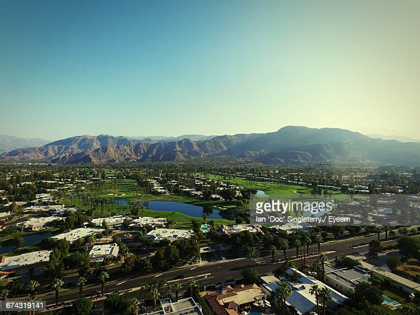 High Angle View Of Buildings At Coachella Valley Against Clear Sky