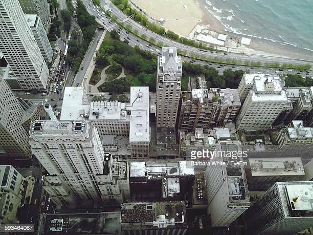 High Angle View Of Buildings By Beach