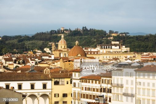 High angle view of buildings in a city, Florence, Tuscany, Italy : Foto de stock