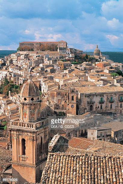 High angle view of buildings in a city Ragusa Sicily Italy