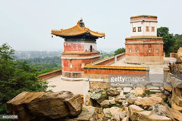 High angle view of buildings, Tower of Dawn Light, Summer Palace, Beijing, China