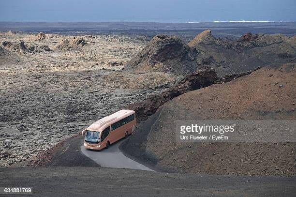 High Angle View Of Bus On Mountain Road