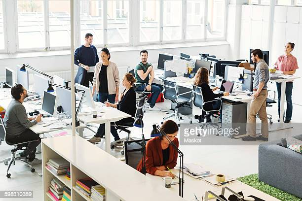 High angle view of business people working in modern office