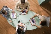 High angle view of businesspeople in meeting