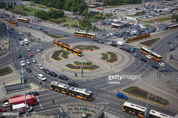 High angle view of busy traffic roundabout in Warsaw
