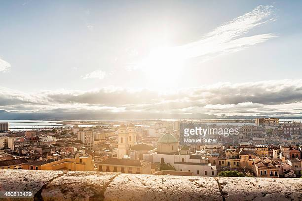 High angle view of Cagliari, Sardinia, Italy
