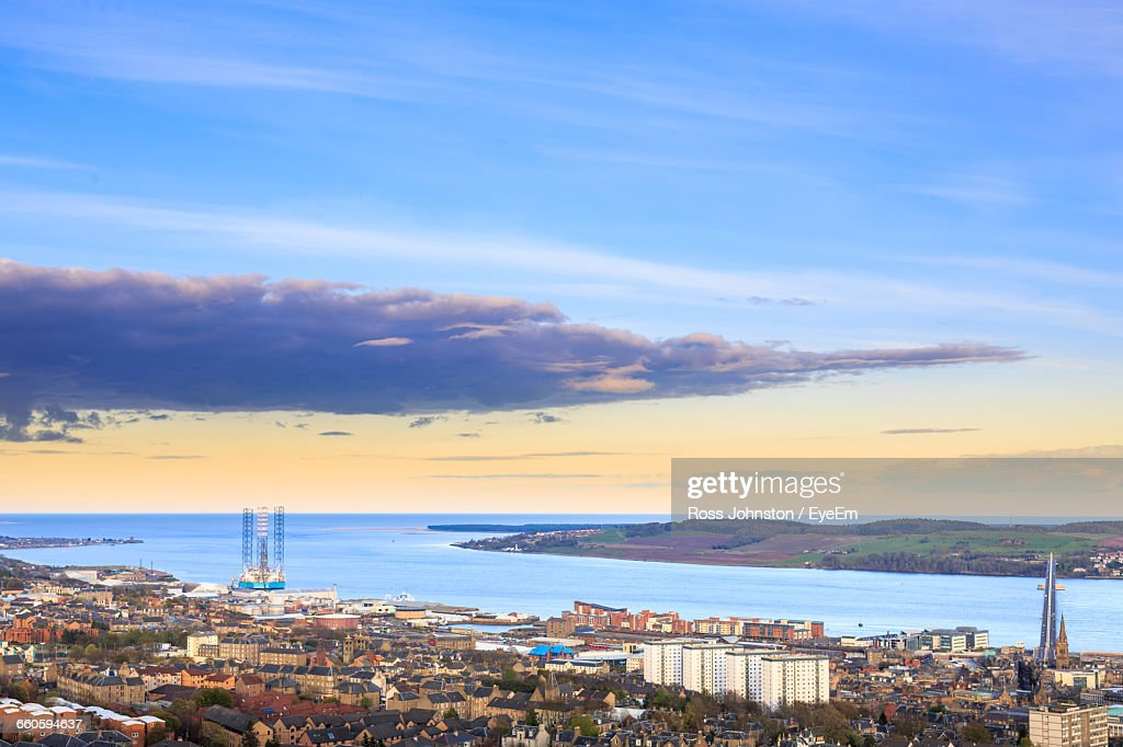 High Angle View Of Calm Blue Sea Against Sky