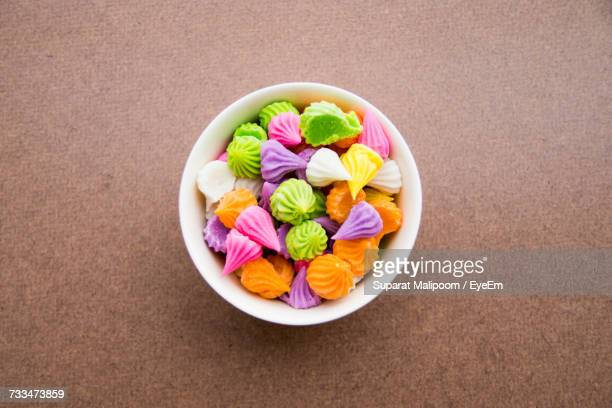 High Angle View Of Candies In Bowl