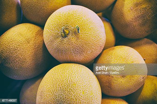 High Angle View Of Cantaloupes For Sale At Market Stall