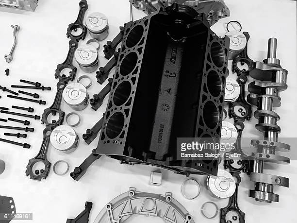 High Angle View Of Car Engine On Table
