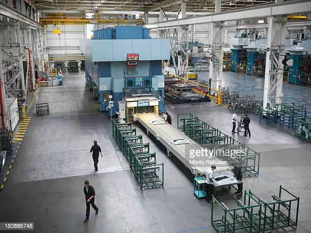 High angle view of car parts press in car factory