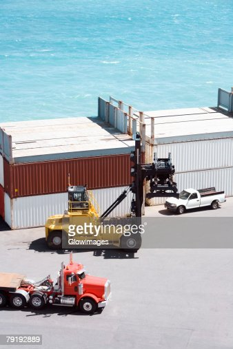 High angle view of cargo containers at a commercial dock : Stock Photo