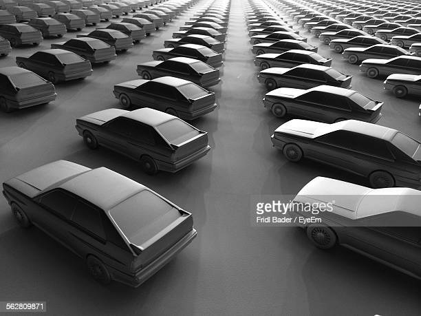 High Angle View Of Cars In Stationary