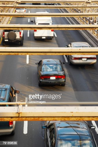 High angle view of cars moving on a road, Brooklyn Bridge, New York City, New York State, USA : Stock Photo