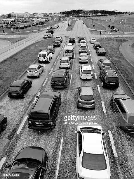 High Angle View Of Cars On Road In City