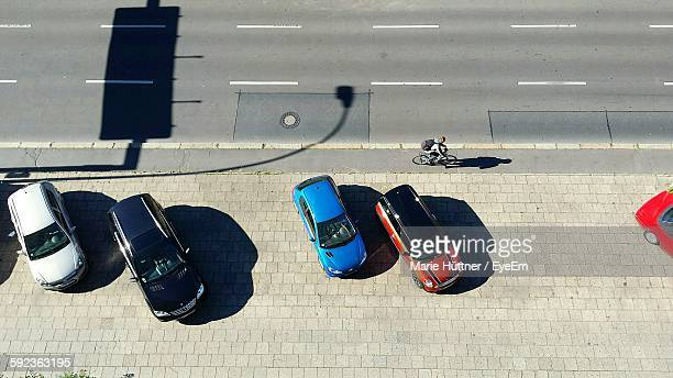 High Angle View Of Cars Parked On Street