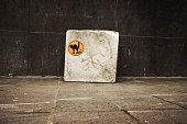 High Angle View Of Cat Sign On Concrete Block