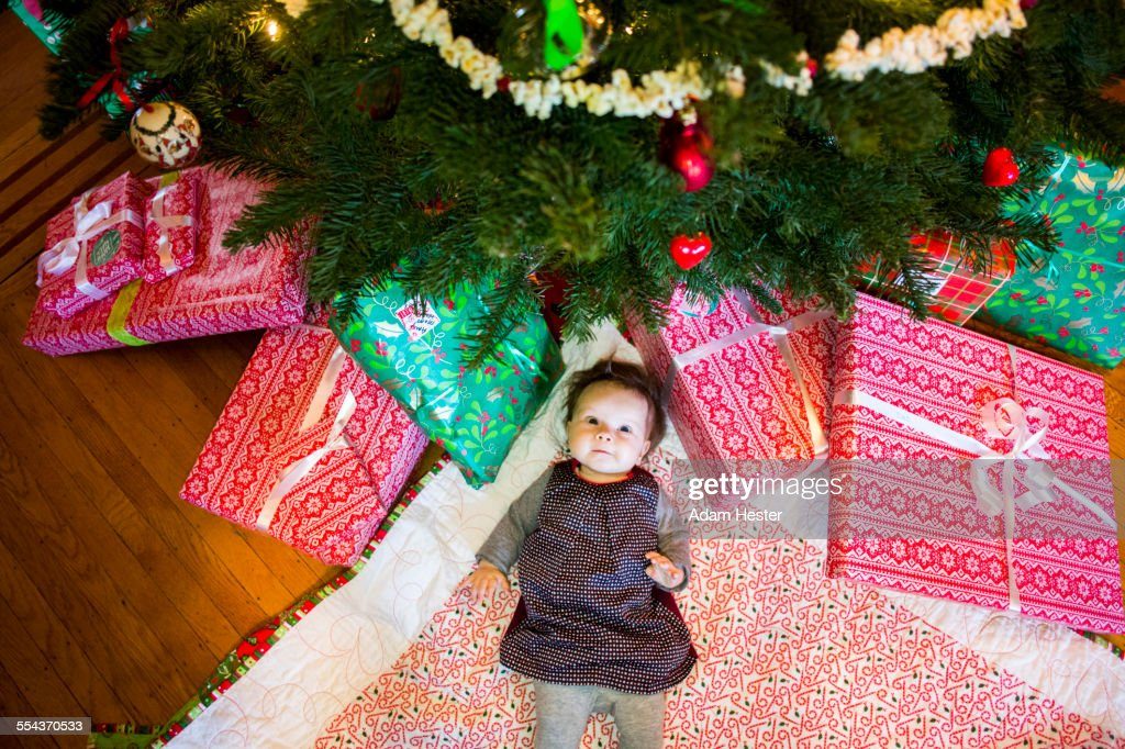 High angle view of Caucasian baby girl laying under Christmas tree : Photo