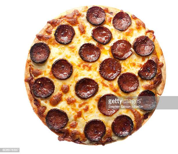 High Angle View Of Cheese And Pepperoni Sausage Pizza